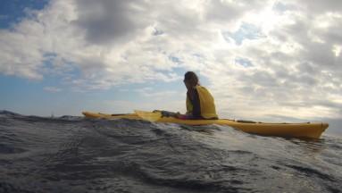Uno de entre la sesentena de kayaks que nos acompañaban