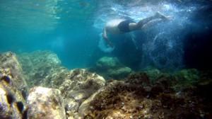 Las Vies Braves también son ideales para hacer snorkel. Esta foto no es gran cosa, pero se aprecia la transparencia del agua
