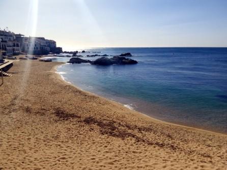 Playa del Port Bo en Calella; 2 semanas antes de la travesía, el día estuvo así de soleado