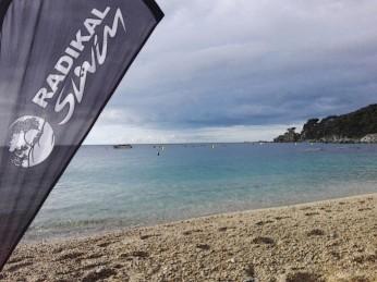 Llegaban nubes negras, ¡pero eso no nos quitó las ganas de nadar!